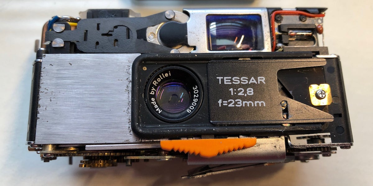 The camera with the cover completely removed