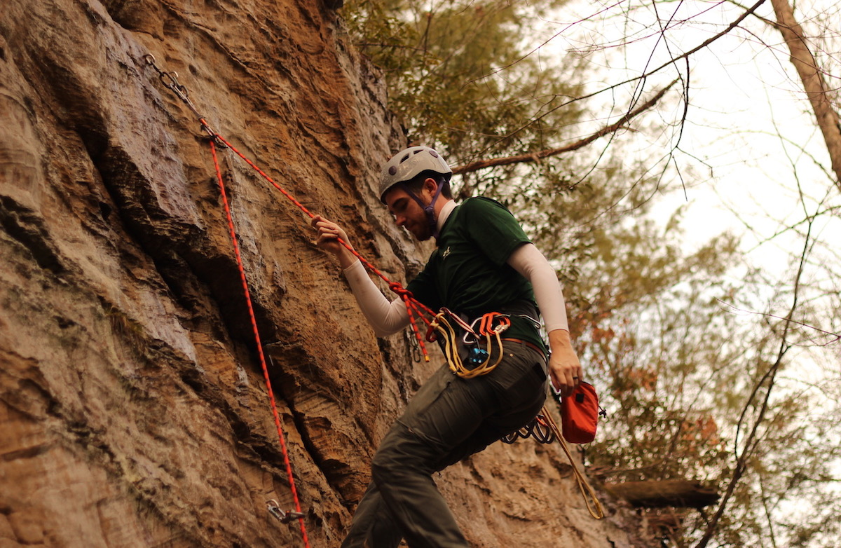 Matt finishing a lead of 'Fear of Commitment' on the Guide wall
