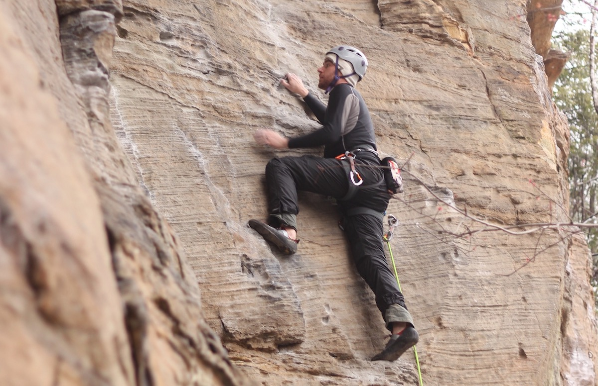 Matt leading 'Trundling Kentucky' on the Bruise Brothers wall