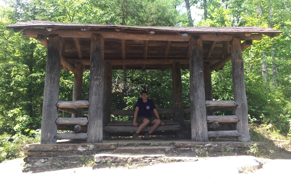 Ben in a shelter at Pickett CCC Memorial State Park