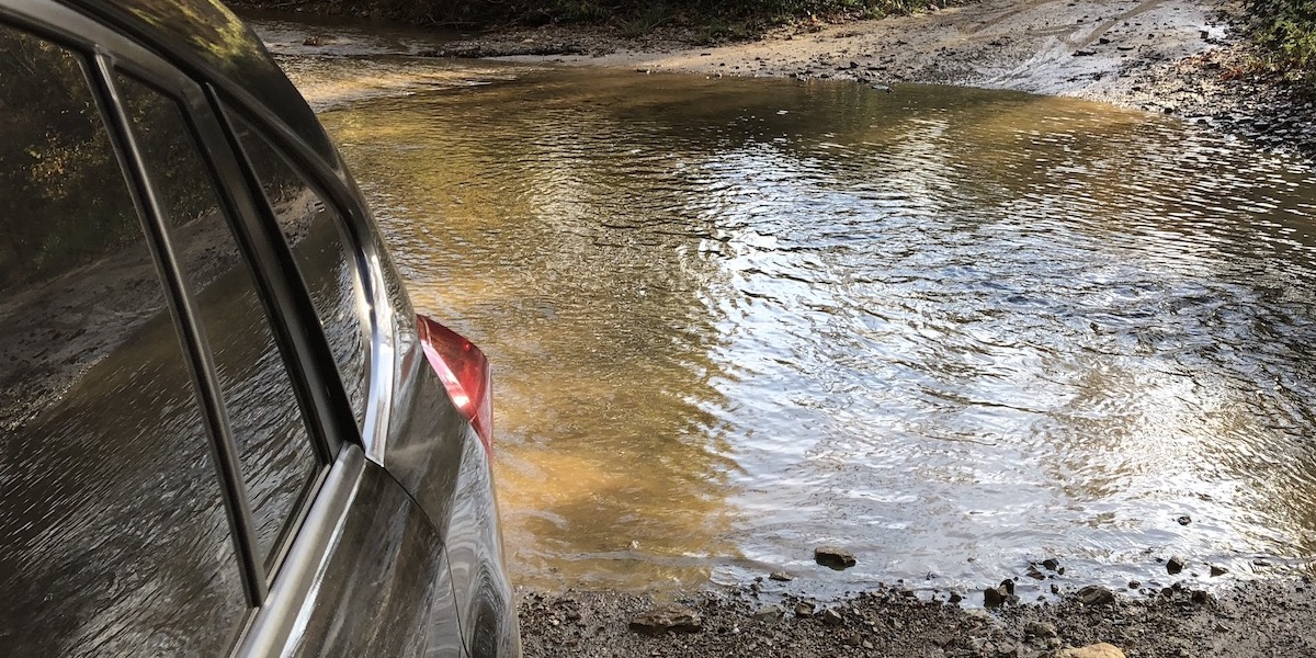 Fording a stream in the Subaru to get to Miller Fork