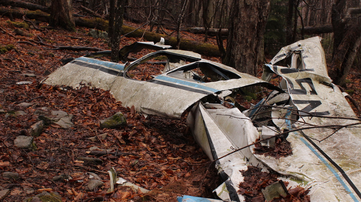 The wreckage of a small plane which crashed in 1973