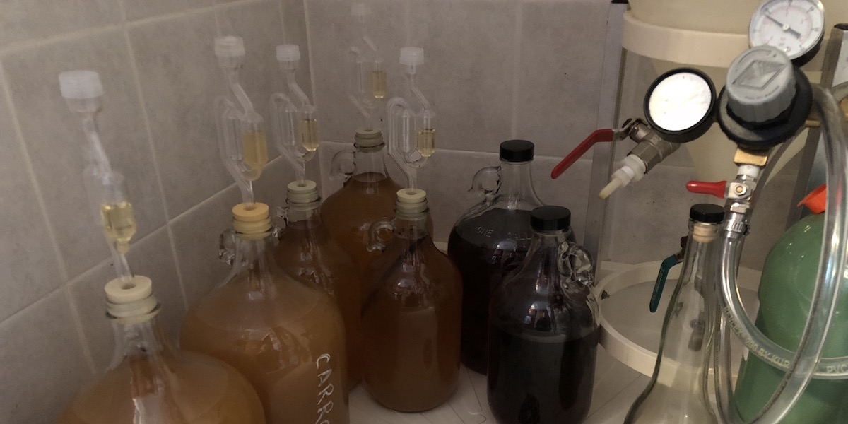 Six gallons of mead aging